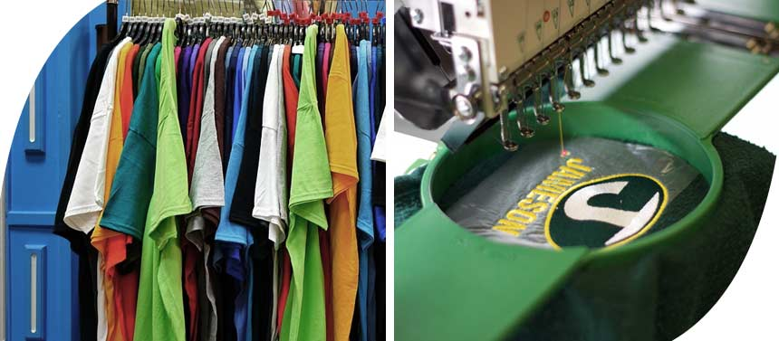 a t shirt rail and an embroidery machine