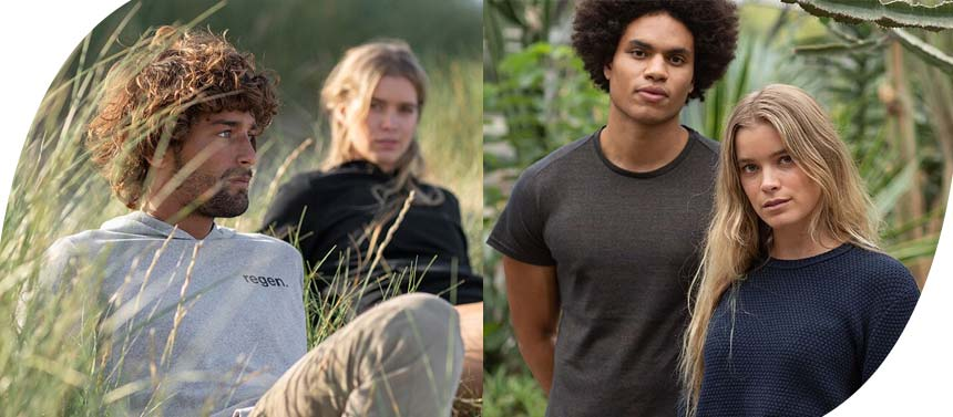 Men and women in nature, wearing organic clothing