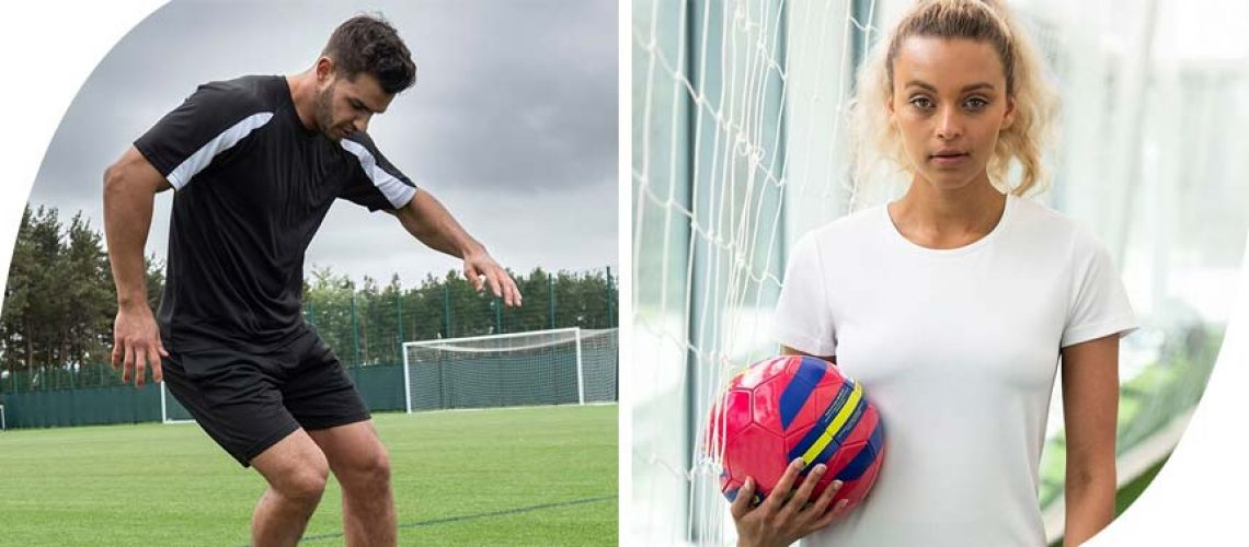 a man playing football and a woman holding a football